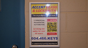 Accent Glass advertises at Pitt Meadows Arena
