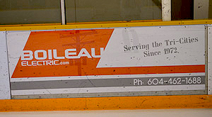 Boileau Electric advertises at Pitt Meadows Arena